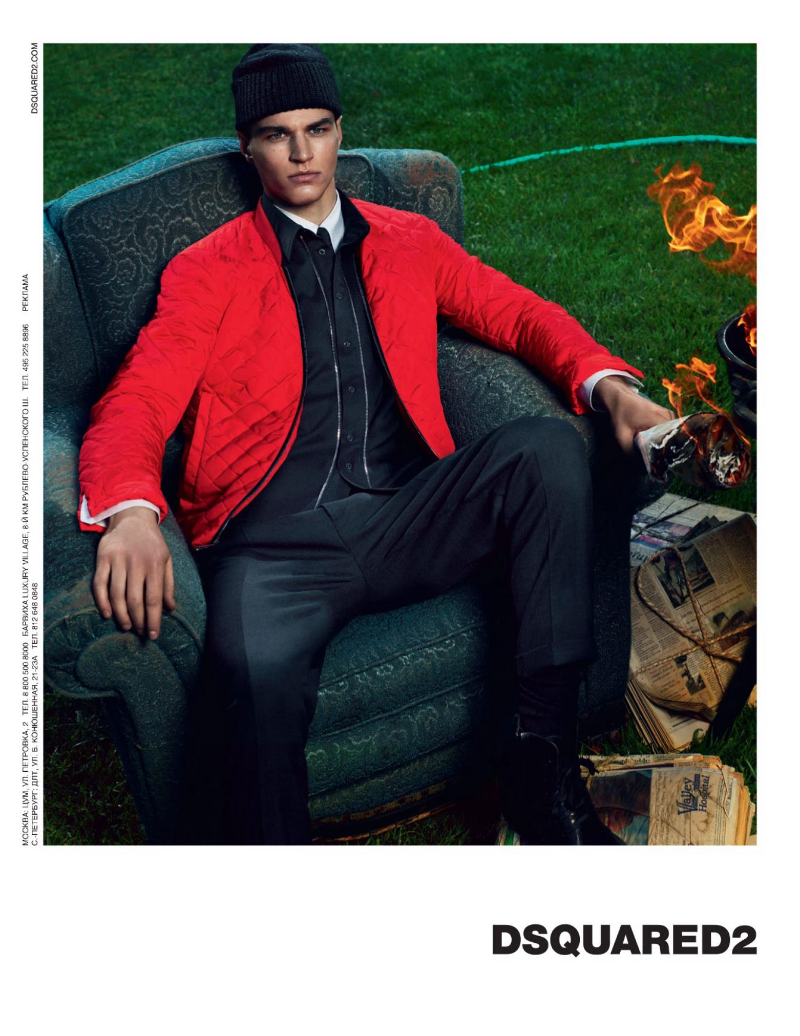 arran sly model in dsquared2 campaign fashion menswear